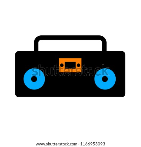 music player - sound music icon, vector retro radio cassette - media illustration isolated