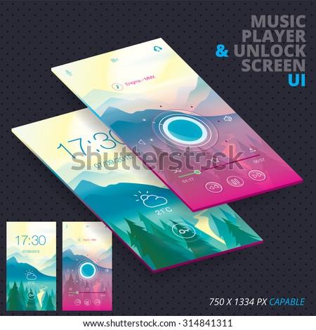 music player   unlock screen...