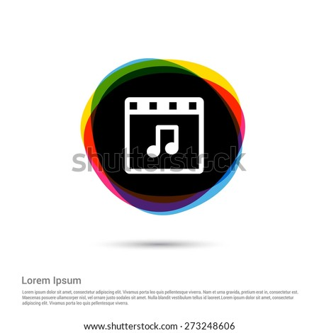 Music player window Icon, White pictogram icon creative circle Multicolor background. Vector illustration. Flat icon design style