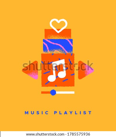 Music playlist colorful flat icon illustration on isolated background. Song streaming app or musical player interface concept in trendy hand drawn cartoon style. Photo stock ©