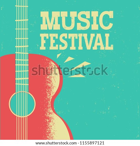 Music poster background with acoustic guitar on old retro poster with text