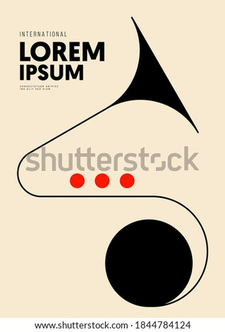 Music poster design template background with trumpet and geometric line. Design element template can be used for backdrop, banner, brochure, leaflet, print, vector illustration Сток-фото ©
