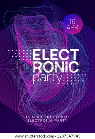 Music poster. Dynamic gradient shape and line. Creative concert banner concept. Neon music poster. Electro dance dj. Electronic sound fest. Club event flyer. Techno trance party.