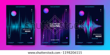 Music Poster for Electronic Festival. Party Flyer with Dotted Lines and Waves. Abstract Amplitude of Sound. Vector Illustration. Distorted Wave Equalizer. Cover Design Concept of Electro Music Fest.
