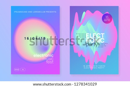 Music poster set. Electronic sound. Night dance lifestyle holiday. Fluid holographic gradient shape and line. Cool trance party banner design. Summer fest flyer and music poster.