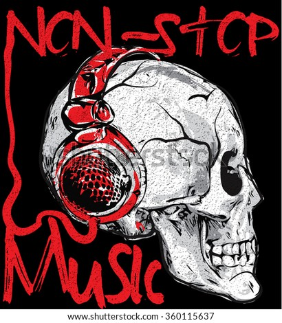 music poster skull with