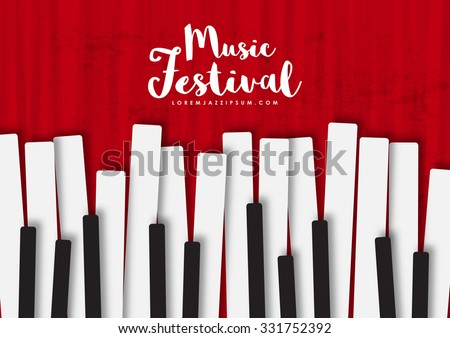 Music poster template. Vector flyer background with keyboard illustration. Texture effects can be turned off. A4 size.