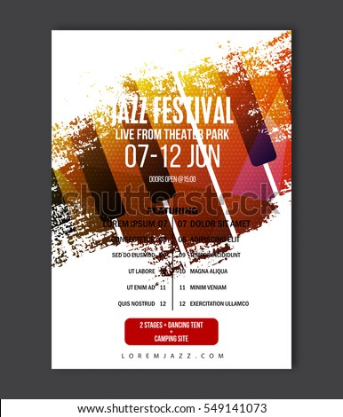 Music poster template. Vector Jazz music flyer background with keyboard illustration in paint brush style. A4 size flyer.