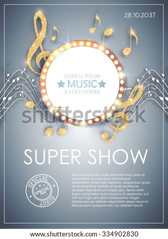 Music Poster Template with Circle Banner, Notes & Treble Clef. Shining Design. Vector illustration