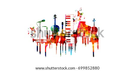 Music poster with music instruments. Colorful piano keyboard, saxophone, trumpet, violoncello, contrabass, guitar and microphone with music notes isolated vector illustration design
