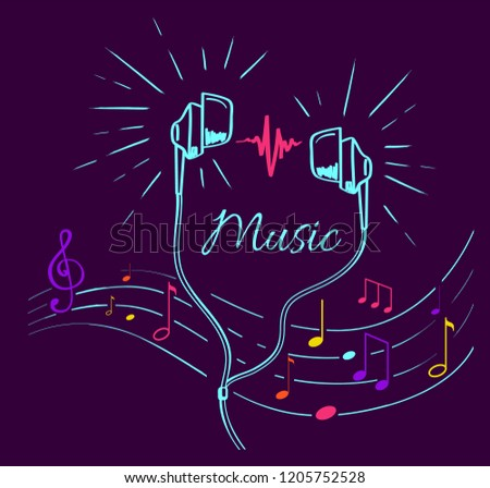 Music poster with treble clef, notes set and headphones performing loud sounds vector doodles in flat style. Headset hand drawn musical earphones with melody
