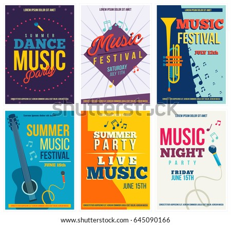 music posters or flyers set