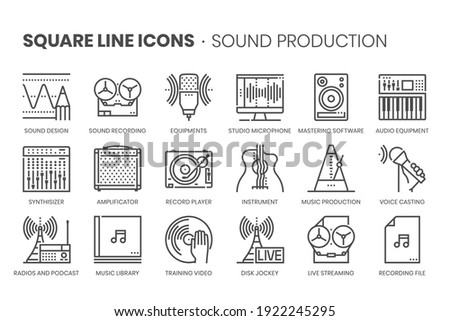 Music production, square line icon set. The illustrations are a vector, editable stroke, thirty-two by thirty-two matrix grid, pixel perfect files. Stok fotoğraf ©