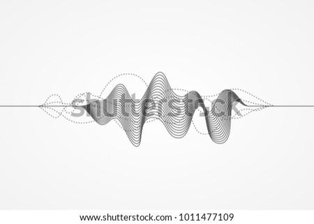 Music radio sound wave. Sign of audio digital record, vibration, pulse and music soundtrack. Vector illustration. Flat design