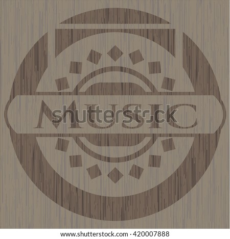 Music realistic wooden emblem