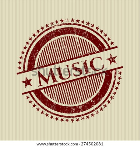 Music red rubber stamp