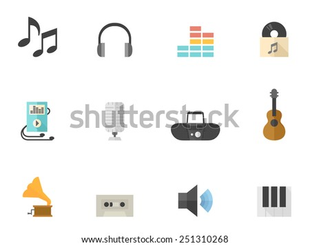 music related icons in flat