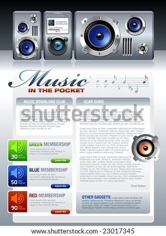 Music related web template or printed flyer