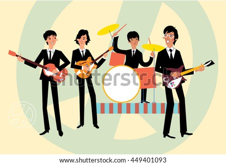 music retro style band beatles