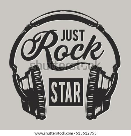 Music rock headphones  typography, tee shirt graphics, vectors
