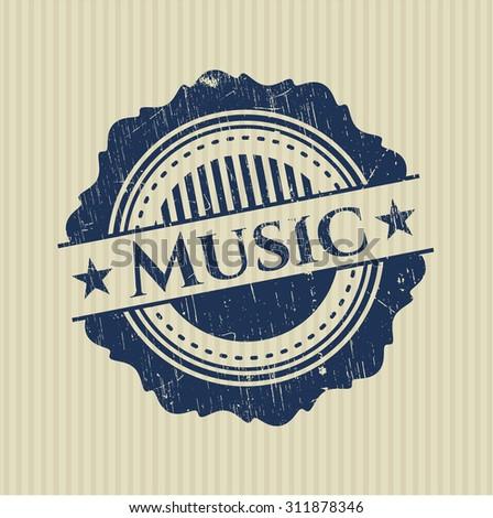 Music rubber grunge stamp