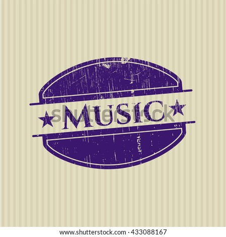 Music rubber stamp with grunge texture