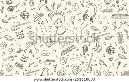 music seamless pattern freehand