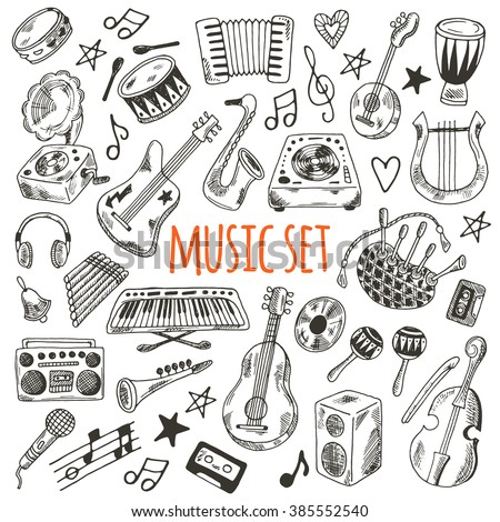 music set hand drawn musical