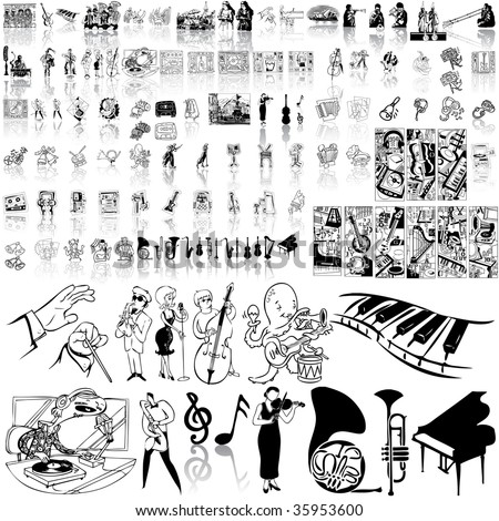 Music set of black sketch. Part 1. Isolated groups and layers.