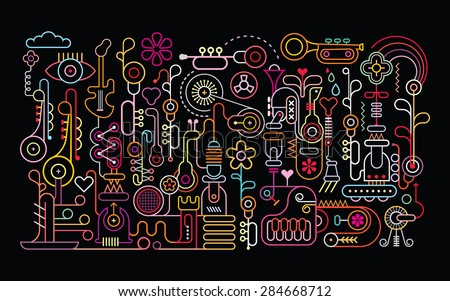 music shop abstract art vector