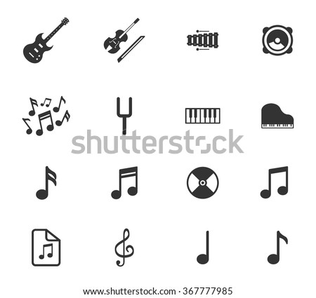Music simple icons for web