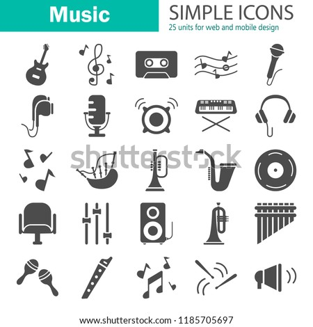 Music simple icons set for web and mobile design