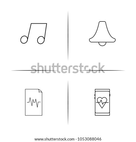 Music simple linear icons set. Outlined vector icons