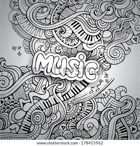Music Sketchy Notebook Doodles. Hand-Drawn Vector Illustration
