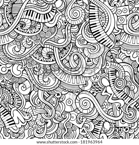 Music Sketchy Notebook Doodles. Hand-Drawn Vector Illustration. Seamless pattern