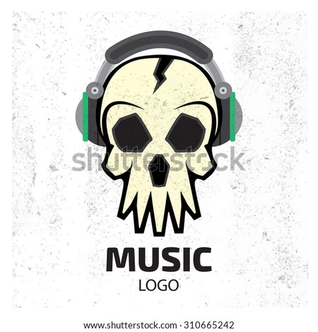 music skull logo record studio
