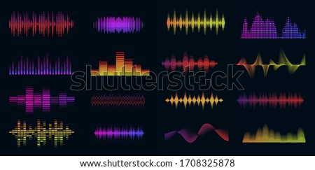 Music sound waves big colorful set. Music audio collection. Console panel. Electronic radio signal. Equalizer. Vector illustration. Stock photo ©