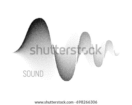 Music sound waves on white background. Halftone vector. RGB Global color