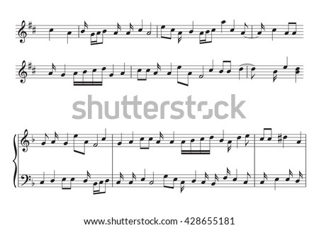 music staff with music notes - vector