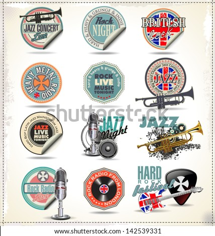 music stamps and labels