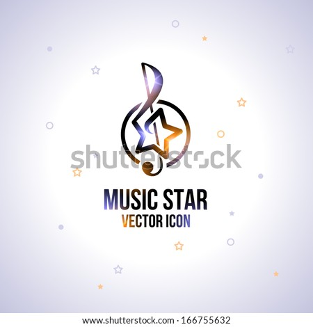 Music star icon. Abstract idea for business identity.  Trendy style. Vector illustration. Editable.