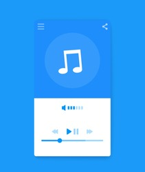 Music streaming player interface, mobile ui, vector