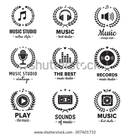 music studio logos with wreaths