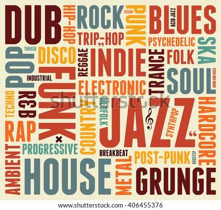 music styles typographic