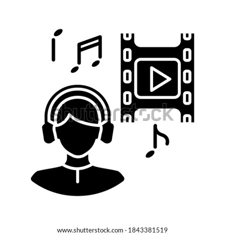 Music supervisor black glyph icon. Producer for audio making. Listen to song. Composer for movie soundtrack. Sound in headphones. Silhouette symbol on white space. Vector isolated illustration Stock photo ©