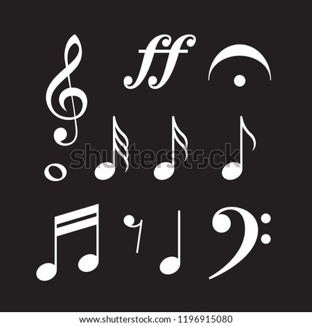 Music symbols, notes, G clef, vector illustration EPS 10