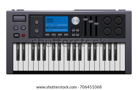 Realistic Style Electronic Piano Vector