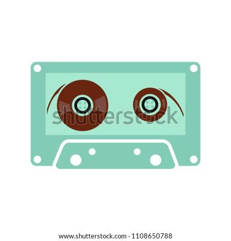 music tape - sound music icon, vector retro radio cassette - media illustration isolated