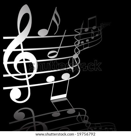 Music theme white notes on black background
