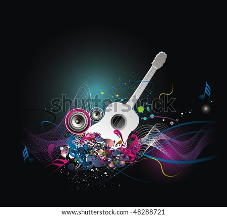 music theme with abstract rainbow color background, vector illustration, No mesh in this Vector